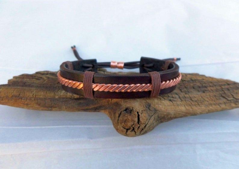 Leather and Copper Bracelet Mens bracelet 7th Anniversary image 0