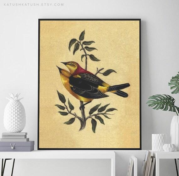 yellow bird print yellow kitchen decor gift for her | etsy