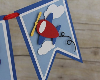 Airplane First Birthday Banner, High Chair Banner, One Banner