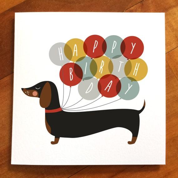 Perro salchicha feliz cumpleaños globo tarjeta perro | Etsy