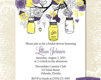 Bridal Shower Invitation - Sunflower Mason Jar Bridal Shower Invite - Yellow Purple Mason Jar Sunflower Wedding Shower -1255 PRINTABLE