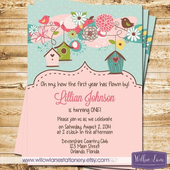 Bird first birthday invitation bird houses birthday invite etsy image 0 filmwisefo