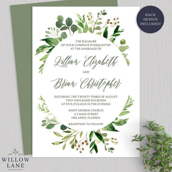 Botanical Wedding Invitations | Greenery Wedding Invitation Botanical Wedding Invitations Etsy