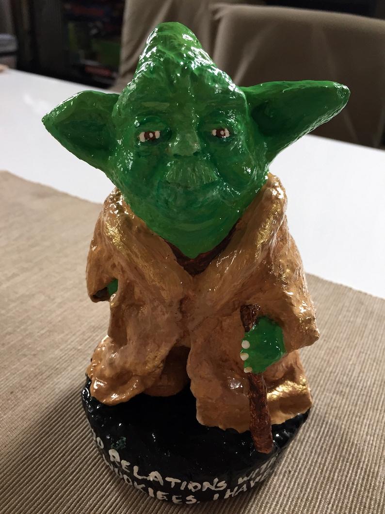 Parodie de Maître Yoda, nain de jardin solide, intérieur Gartenzwerg, 6,5  pouces, inspirées de Star Wars, « bonnes relations avec les biscuits, ...