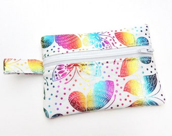 Printed Cotton Zipped Pouch Rainbow Striped Coin /& Card Purse Happy Rainbow Handmade 100/% Cotton Creatures of Fun