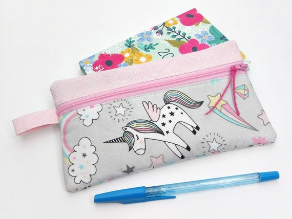Pencil Case Zippered Canvas Coin Purse Black Unicorn Art Painting Wallet Bag Gift With Zip And Liner