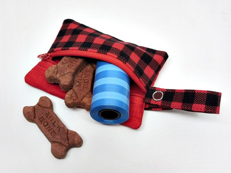 Dog treat pouch small leash bag dog owner gift poop bag holder poop bag dispenser clip on leash pouch small zipper pouch red plaid