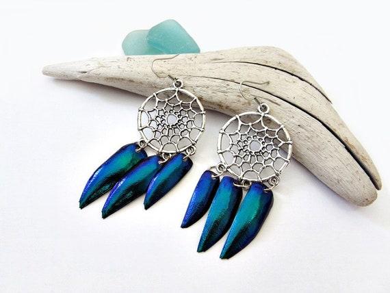 Blue jewel beetle earrings, scarab beetle wing earrings, shell earrings,  insect wings earrings, bug shell earrings, dreamcatcher earrings