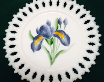 Hand painted milk glass lace edged dish