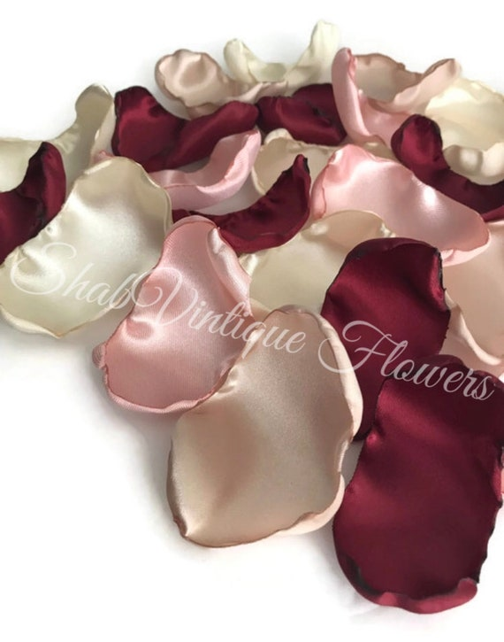 Maroon blush pink ivory and champagne mix of 150 flower petals wedding decor rose petals artificial flower petals