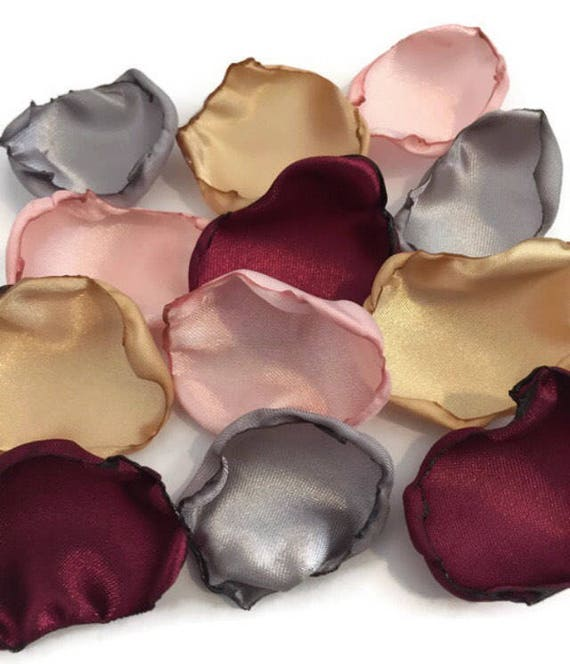Marsala Maroon Blush Pink Gold Silver Mix Of Flower Petals Etsy