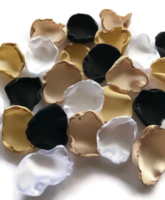Black Gold Champagne And White Flower Petals Rose Petals Etsy