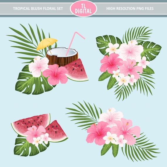 Tropical flowers clipart set tropical blush pink flower etsy image 0 mightylinksfo