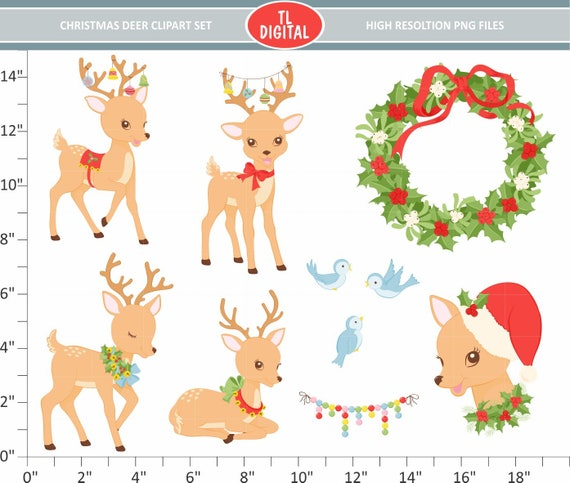 Christmas Decor Reindeer Faces Clipart Cute Baby Deer Clip Art.. Royalty  Free Cliparts, Vectors, And Stock Illustration. Image 127713048.
