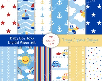 "Baby Boy Toys - Digital paper set - 12 sheets - 12""x12"""