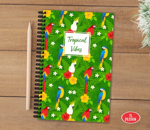 Gloss Card cover A5 Spiral Notebook with Tropical Birds Pattern NTB024-80 Pages