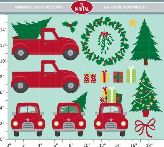 Christmas Illustrations Png.Christmas Tree Truck Clipart Set 16 Christmas Illustrations High Resolution Png Files