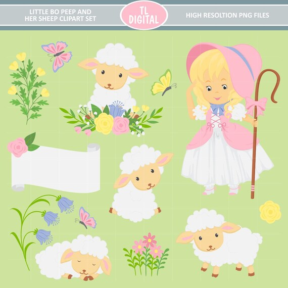 Little Bo Peep and Her Sheep Clipart Set - Floral Sheep - High resolution  PNG Files - 29 clipart illustrations