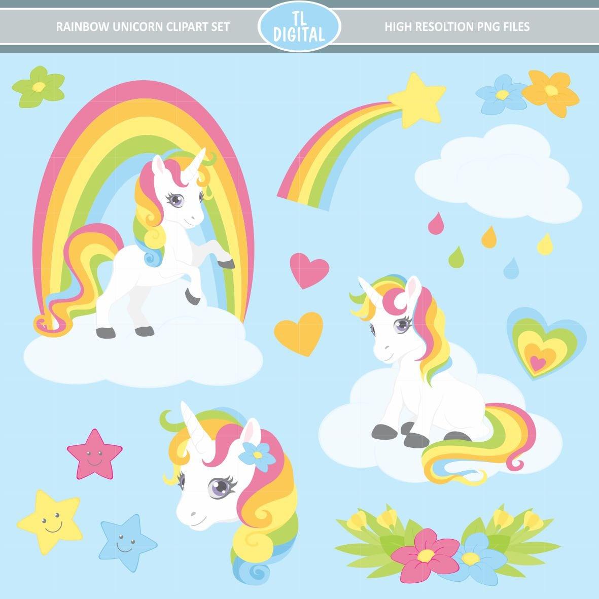 Rainbow Unicorn Clipart Set High resolution PNG Files 30 ...