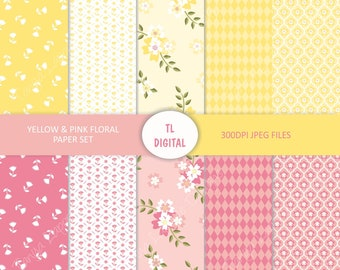 """Yellow and Pink - Spring Floral - Digital Paper Set - 10 Patterns - 12x12"""""""