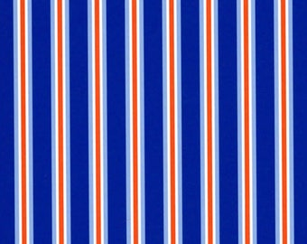 Fabric Finders royal blue, orange and white stripe fabric