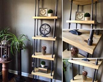 5 Level Shelf / Bookshelf FREESTANDING - Solid Wood & Iron Pipe - CUSTOMIZABLE!