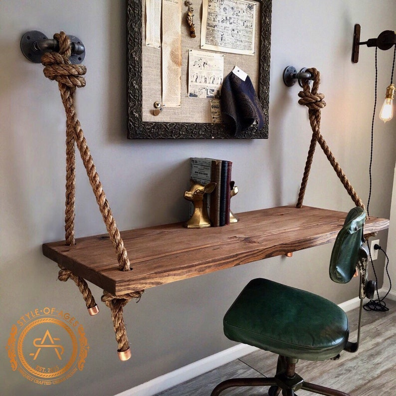Stupendous Rope Pipe Desk Free Shipping Suspended Wood Wall Mounted Standing Computer Laptop Desk Floating Industrial Hanging Shelf Table Download Free Architecture Designs Xoliawazosbritishbridgeorg