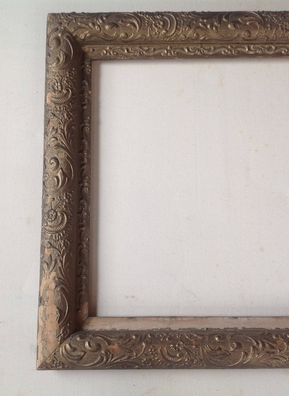 Antique wood ornate picture frame / gold painted finish | Etsy