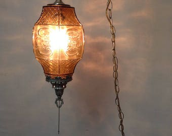 Vintage Glass Hanging Light