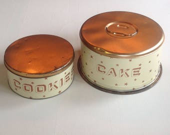 Vintage decoware tin  cookie and cake canister set
