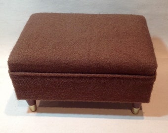 Vintage upholstered foot stool /   / 50's or 60's