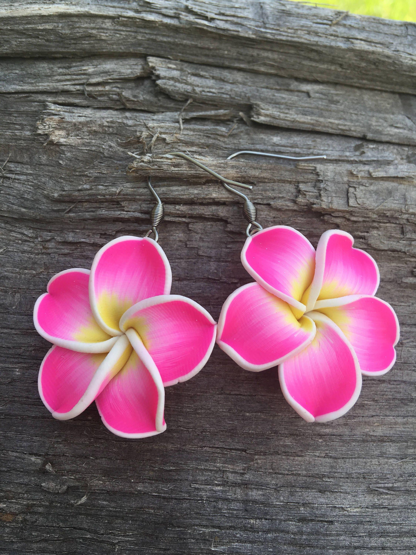 Plumeria Earrings Hawaiian Earrings Plumeria Flower Etsy