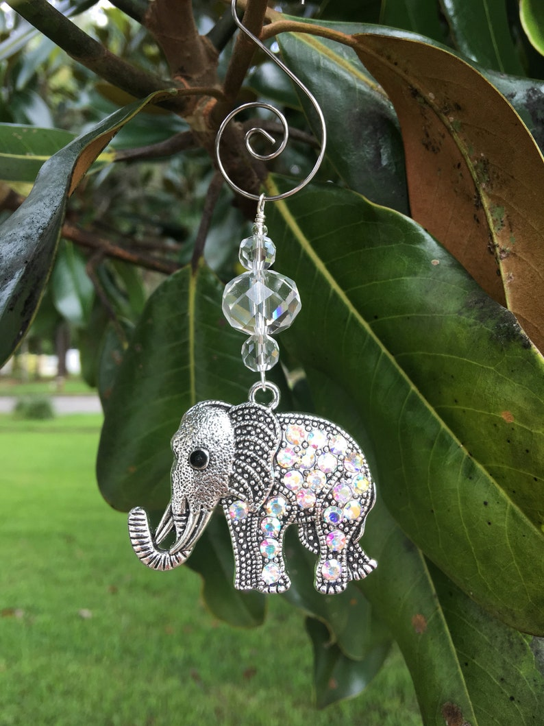Elephant Christmas Ornaments Rhinestone Christmas Ornament Elephant Home Decor Elephant Window Suncatcher