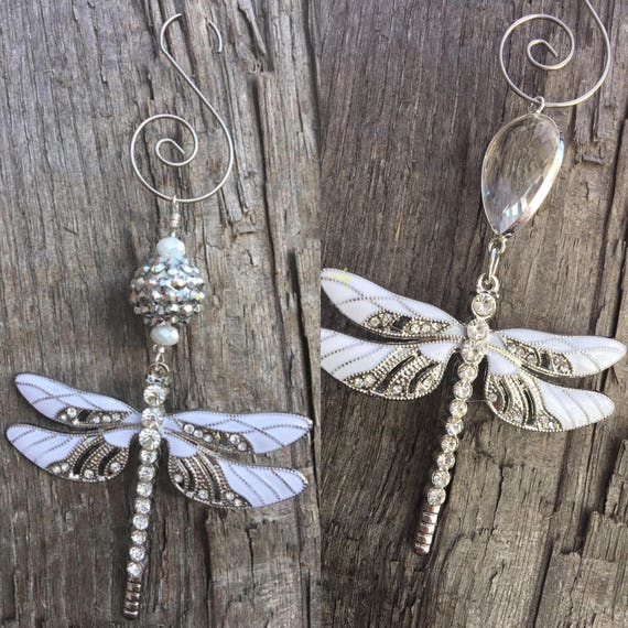 WHITE DRAGONFLY Christmas Ornaments Rhinestone Christmas | Etsy