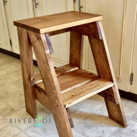 Rustic Farmhouse Wood Step Stool, Custom Painted Step Ladder, Bedroom Side  Table, Kitchen Stool, Child Step Stool, Rustic Wooden step stool