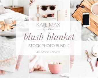 Blush Blanket Stock Photo Bundle / Styled Stock Photos / 40 KateMaxStock Lifestyle Branding Images for Your Business