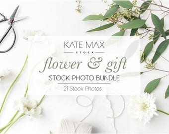 Simple White Flower & Gift Stock Photo Bundle / Styled Stock Photos / 21 KateMaxStock Flower Branding Images for Your Business