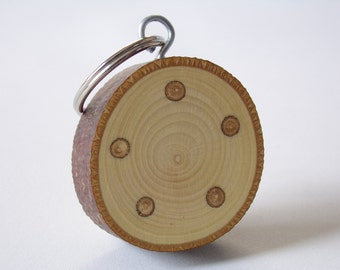 Rustic Tree Branch Wooden Keyring With Twig Inlays