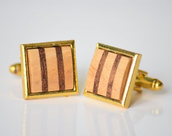 Gold Coloured Square Striped Wood Wooden Cufflinks Cuff Links