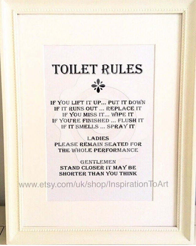 Terrific Toilet Sign Toilet Rules Loo Sign Funny Sign Funny Toilet Sign Funny T Family Bathroom Sign Water Closet Sign Office Toilet Sign Beutiful Home Inspiration Semekurdistantinfo