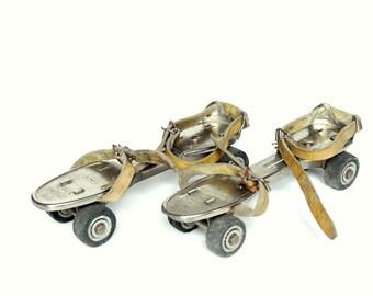 c307d92bd13 Rolschaatsen Franse vintage - Rollers ajoustables metalen en stroken leder  1960 - voormalig junior snelle kind speelgoed - retro Sport
