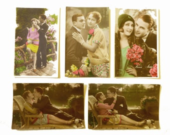 Cards postcards vintage colorized photos from 1930 lovers couple - set of 5 romantic vintage unused - Valentine's day cards