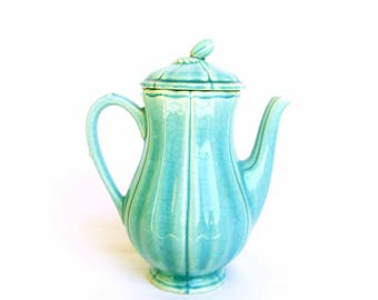 Coffee pot ceramic vintage french blue green Charolles - Coffee Pot teapot turquoise faience - cottage chic kitchen Decor