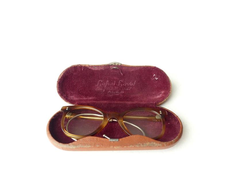 Pair of vintage 19401950s vintage children's glasses, retro glasses false tortoiseshell, original metal case