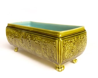 Earthenware Sarreguemines planter table - turquoise green Majolica stylized lion decor - antique French majolica ceramic 1900
