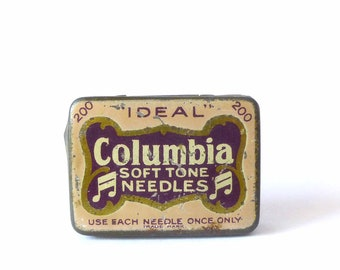 Tin Tin 1920 gramophone needles - Columbia phonograph metal - box box advertising vintage collectible