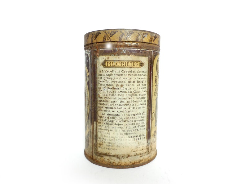Cocoa 1900 French tin box box advertising d/'Aiguebelle chocolate vintage bottle collection rustic country kitchen Decor