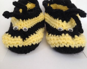 Cosy Handmade Crocheted Novelty Black and Yellow Bee Slippers