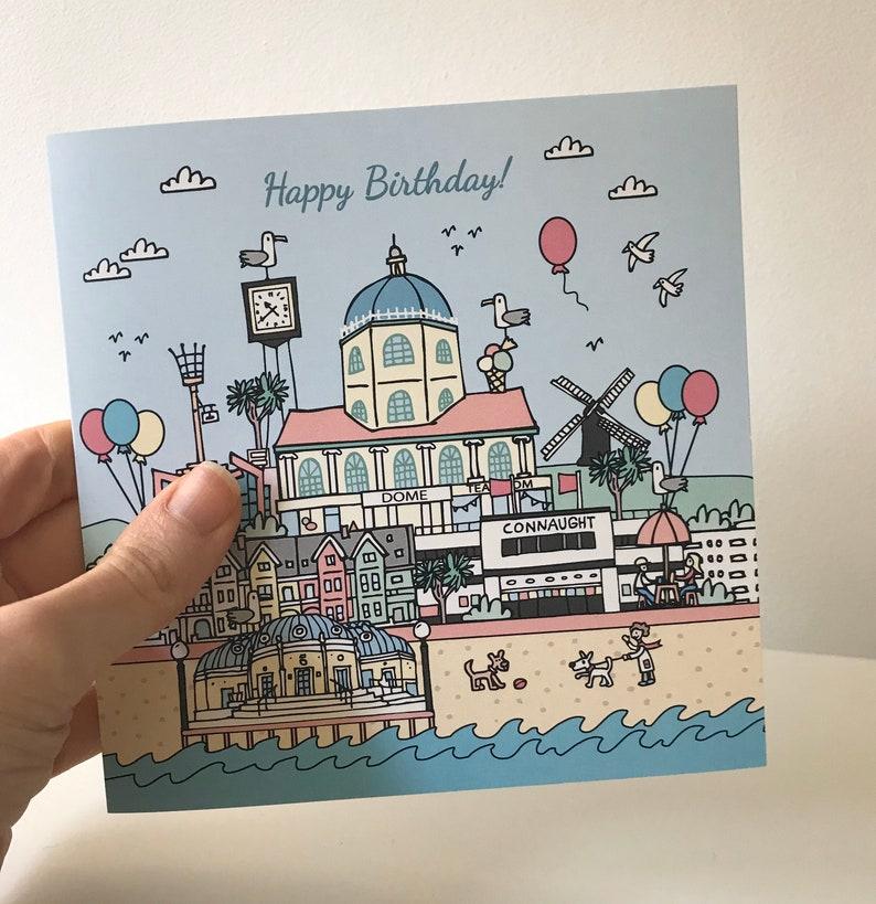 Worthing Illustrated landmarks Birthday Card