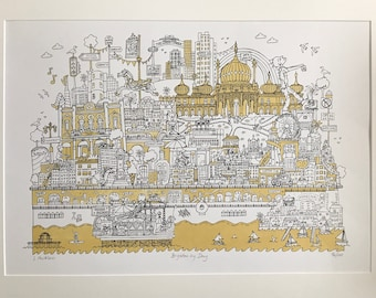 Brighton Art. Limited edition Screen print A2 size. Black and gold.